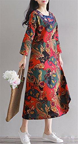 Femme Femmes Rétro style chinois Impression Folk manches longues en lin longue Hem Dress Robe rouge2