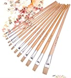 #6: Asint 12 Pieces Straight Head Hair Wood Handle Acrylic Paint Brush Oil Painting Artist Drawing To Brush Set Painting