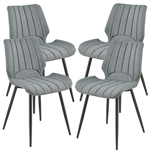 [en.casa] 4X Stühle Dunkelgrau Gepolstert mit Textilbezug Lehnstuhl Esszimmer-Stuhl Polsterstuhl 4er Set Lounge Set -
