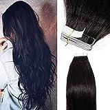40 Pcs Extension Adhesive Naturel Cheveux Humain Adhesif Bande Adhesive - Tape In Hair Extensions (#1B NOIR NATUREL, 40CM)