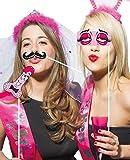 Photo Requisiten Photo Props Accessoires mit 10 Motiven für lustige Bilder Frauen Mitbringsel Bridal Shower Junggesellenabschied Polterabend Geburtstag Party