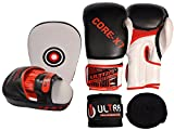 ULTRA FITNESS® 3 IN 1 Boxing curved (Hook & Jab Punch Pads + Gloves + 4m Hand Wraps ) Set MMA Target Focus Punching Mitts Thai Strike Kick Shield Focus Boxing Pads fight training Gloves Gel Sparring Glove Training Kit Ufc Mma Kickboxing Boxercis (White&Black, 14oz)
