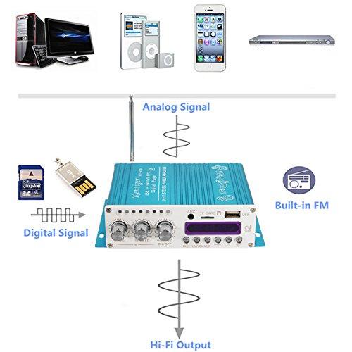 ELEGIANT 12V Mini Bluetooth HiFi Auto KFZ MP3 Stereo Audio Endstufe Amplifier Verstärker Car Audio Amplifier AMP Roller Booster Radio MP3 Verstärker MP3 für Auto KFZ PKW Motor CD DVD