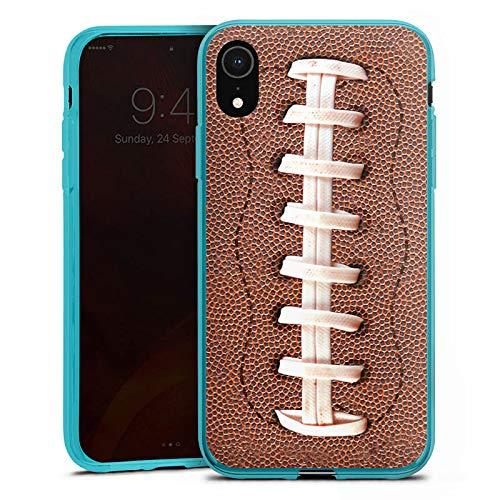 DeinDesign Silikon Hülle kompatibel mit Apple iPhone Xr Case Schutzhülle American Football Lederstruktur Leder