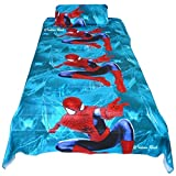 Mahi Fashion Premium Cotton Kids Bed sheet Baby Bed sheet Single Bedsheet with 1 Pillow Cover Satin Fabric Procian Printing (Spider Man)