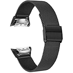 TRUMiRR Gear Fit 2 Bracelet de Remplacement, Solide Bracelet en Acier Inoxydable Bracelet Sport Bracelet pour Samsung Gear Fit 2 SM-R360 / Fit 2 Pro SM-R365 Montre Intelligente