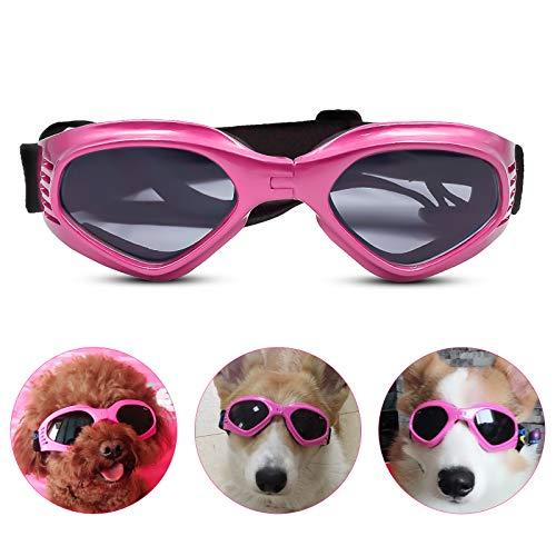 PEDOMUS Hunde Sonnenbrille Verstellbarer Riemen für UV-Sonnenbrillen Wasserdichter Schutz für kleine und mittlere Hunde Rosa