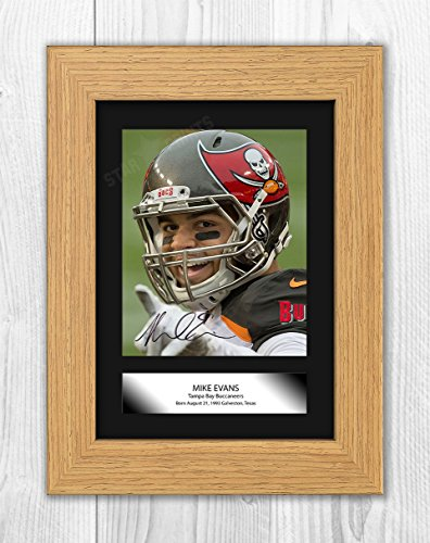 Engravia Digital Mike Evans Tampa Bay Buccaneers Poster Signed Autograph Reproduction Photo A4 Print(Oak Frame)