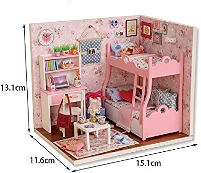 calistous DIY de madera casa de muñecas muebles Kits Luz LED Navidad en miniatura casa de muñecas juguete Puzzle 6