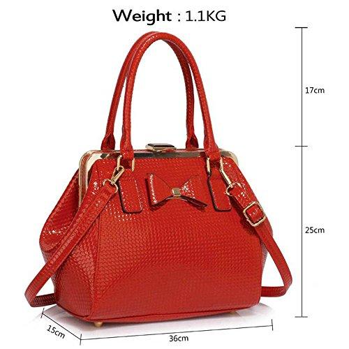 TrendStar Damen Designer-Handtaschen-Schulter-Patent Bow Frame Satchel Frauen faux Leder Promi-Tasche Rot Handtaschen