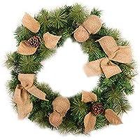Corona de Navidad de lino y PVC con luz LED, para la ventana del hogar, hotel, compras, decoración de puerta, colgante, suministros de vacaciones, verde, 50 cm