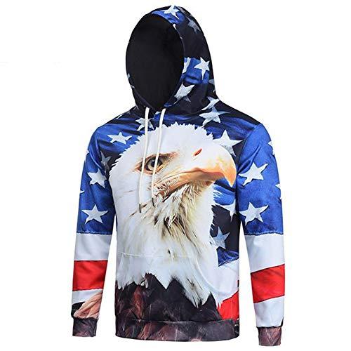 YUVUMVS Herbst-Fashoin-Amerikaner Eagle-Flaggen-mit Kapuze Sweatshirt-Männer Frühling Drawstring Hoodies Svitshot Jersey-Betrug Capucha, 2XL Drawstring Jersey Sweatshirt