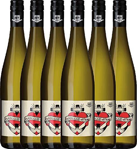 6er Paket - Glaube-Liebe-Hoffnung Riesling 2018 - Bergdolt-Reif & Nett   trockener Weißwein   deutscher Sommerwein aus der Pfalz   6 x 0,75 Liter