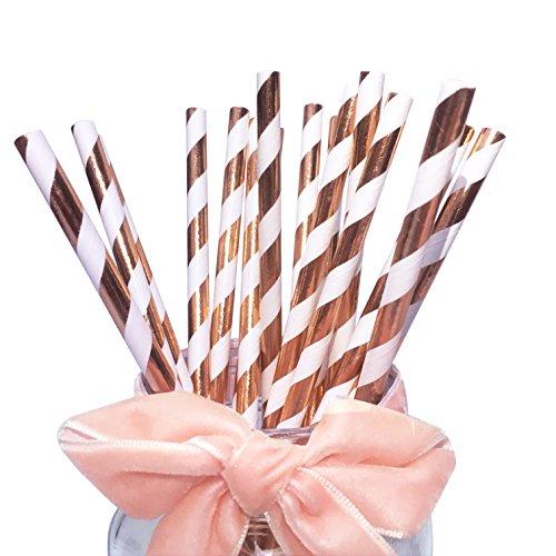 Glänzende Papiertrinkhalme mit Rose-goldenen Streifen für Hochzeiten und Geburtstage, 100Stück, Papiertrinkhalme für Party-Tischdekorationen, Festivals, Events