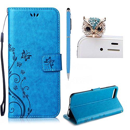 Per iPhone 7 Plus Custodia in Pelle,SKYXD Elegante Portafoglio Supporto Libro Case Custodie 360 Gradi impermeabile Full Body Antiurto Protettiva Custodia Cellulare per iPhone 7 Plus con Glitter Spina  Blu Farfalla