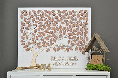 3D Custom Hochzeit Gästebuch Alternative Baum Holz Liebesbaum Custom Einzigartiges Gästebuch Blätter rustikal Hochzeit Rustikal Holz Baum des Lebens 30 x 40 cm, holz, Custom, 30 x 40 cm