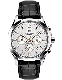 Accurist Men's Quartz Watch with Silver Dial Chronograph Display and Black Leather Strap 7199
