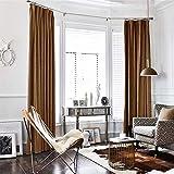 TOPICK Baumwollflanell Flanell Velvet Vorhang in Edler Samtoptik Schlafzimmer Gardine Dekoschal mit Stangendurchzug, Licht blockierend, HELLES BRAUNE Gold (1 Paneel, 241 x 132 cm)