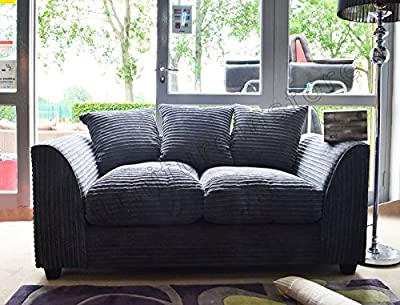 Dylan Byron Grey Fabric Jumbo Cord Sofa Settee Couch 2 Seater from furniturestop.co.uk