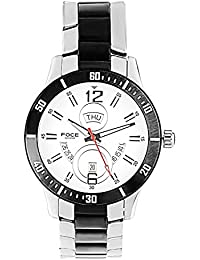 FOCE Silver & Black Round Analog Wrist Watch for Men with Silver::Black Metal Strap - F830GCBM-WHITE