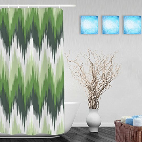 Ikat Seamless Zigzag Tenda per doccia, motivo a righe Decor tessuto in poliestere impermeabile Tende da doccia 91,4x 182,9cm