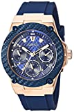 Guess Women's Stainless Steel Silicone Watch, Color Blue/Rose Gold-Tone (Model: U1094L2)
