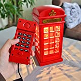 Winterworm Two in One mit Festnetz Telefon mit USB Ladekabel London Red Telephone Booth Nachttisch Lampe LED Touch dimmbar Nachtlicht London Souvenir Home Decor
