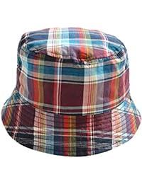 Tangda Bonnet Chapeau de Bébé Fille Garçon Bonnet Soleil Beanie à Carreaux Protection Anti UV Bord Vague Casquette Panama Plage Camping pour 9mois-8ans