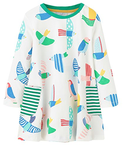 Fiream Girls Cotton Longsleeve Pocket Dresses Special Occasion Cartoon Print by (White,2T/2-3YRS)