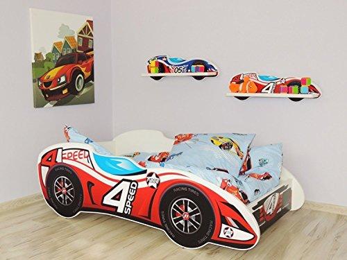 Autobett Kinderbett Juniorbett 140x70 Cm 4 Speed Rot Inkl. Matratze