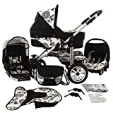 Chilly Kids Matrix Lancer Kinderwagen Komplettset (Autositz, Regenschutz, Moskitonetz, Schwenkräder) 38 Schwarz & 70er Jahre