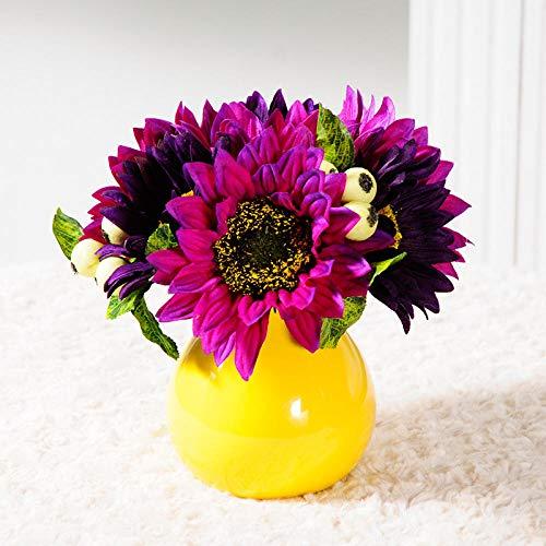 ZHIHUIflower Simulation Lila Sonnenblume Gefälschte Vase Set Ornament Wohnzimmer Tischdekoration Floral Badmöbel