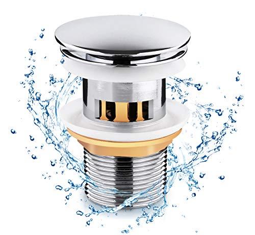 Lemonfilter Universal Ablaufgarnitur mit Überlauf für Waschbecken/Waschtisch Pop Up Ventil Ablaufventil Werkzeugloser Einbau