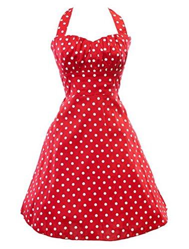 MatchLife Femme Vintage Imprimé Taille Empire Robe de Soirée Dot Rouge-2