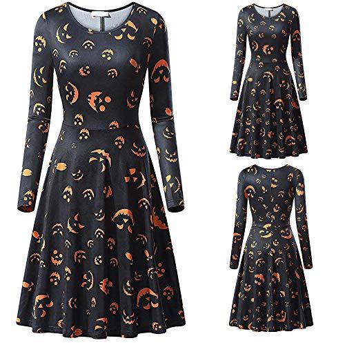 Trisee Damen Halloween Kostüm Pumpkin Sweatshirt Spinne Netz Traditionelle Bekleidung Fledermaus Drucken Festliche Kleider Knielang Karneval Fasching Kostüm