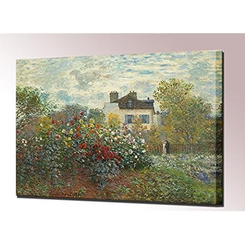 Artists giardino in Argenteuil-Stampa su tela di Monet-Quadro foto, pronto da appendere di immagini di alta qualità, 40 x 33 cm