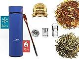 Bottiglia termica Isolata da 450 ml Infusore per tè / frutta in acciaio inossidabile | Borraccia Sport, Outdoor, Caffè, Scuola, Viaggi, Ufficio, Escursionismo Tazza per infusore senza BPA