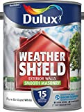 Dulux Weather Shield Smooth Masonry Paint, 5 L - Pure Brilliant White