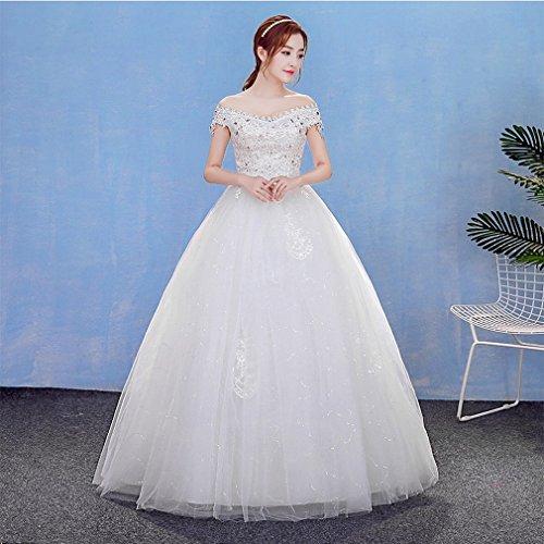 UU Wort Schulter V-kragen Sundai Wei?e Hochzeitskleid Schulter Braut Braut Slim Hochzeitskleid,EIN,S