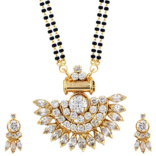 Parijaat Gold Plated White Traditional Mangalsutra Pendant with Chain and Earrings for Women