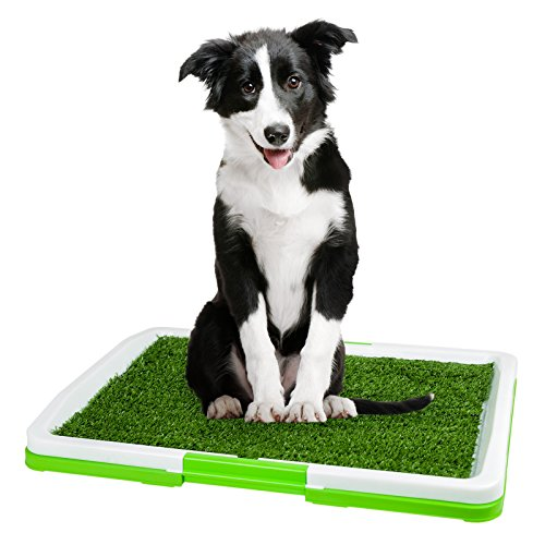 Gabinetto per i cuccioli con erba finta Bagno per i cani Bagno per i cuccioli Bagno per l'educazione dei cani Bagno per l'educazione dei cuccioli di colore bianco e rosa Marchio PRECORN