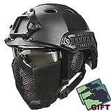 YOROOW Paintball Schutzhelm Camo Gesicht Airsoft Schneller Helm mit Stahlgitter Maske und Goggle-Satz, PUBG Cosplay CS Game Gear für Dschungel-Jagd-Moto
