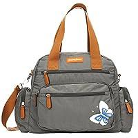 Katy Womens Ladies Designer Multi Zip Shoulder Day Bag with 3d Butterfly Motif - SWANKYSWANS (Dark Grey)