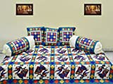 #10: Supreme Home Collective ethnic design blue color cotton diwan set 6pcs ( 1 bedsheet,3 cushion cover, 2 bolster)