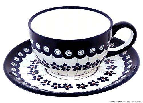 Original Bunzlauer Keramik - klassische Kaffee und Tee Tasse mit Untertasse 0.21 Liter im exklusiven Dekor 166a Original Keramik