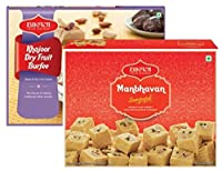 Bikaji Snack Combo Pack - Manbhavan Soan Papdi 200g - Khajoor Barfi 250g - Pack of 2