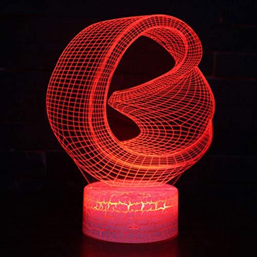 3d Lampe,Abstrakte Lampe 3D Des Annulus-Thema-3D Führte Farbänderungs-Noten-Stimmungs-Lampen-Weihnachtsgeschenk Des Nachtlicht-7