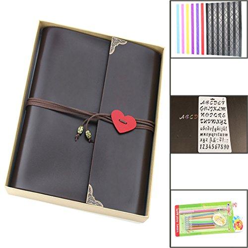"""Album Photo, """"Amour"""" Album de Scrapbooking Vintage, venez avec Coins de Photo et une Boîte Cadeau, Cadeau pour Anniversaire Naissance Mariage,pour Maman Femme Homme (grand, 24 x 27cm)"""