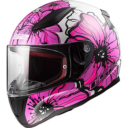 CASCHI MOTO LS2 FF353 Rapid Casco integrale Moto Scooter Sportivi Touring Full Face Casco da Corsa Tute Color Poppies Rosa M