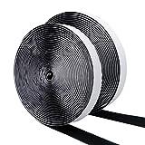 DEHAO Schwarz 10m Doppelseitig Klettband Extra Stark Haftkraft Selbstklebend-Flauschband Hakenband Langfristige Lebensdauere klebend